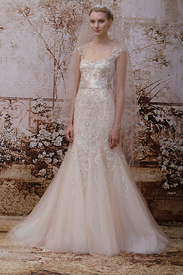 Trend alert blush peach and pink wedding dresses junebug weddings blush wedding dress trend at bridal market for fall 2014 via junebugweddings junglespirit Image collections