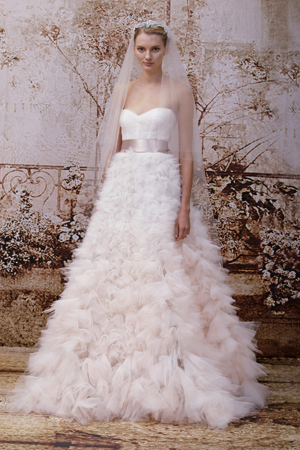 Trend Alert - Blush, Peach and Pink Wedding Dresses | Junebug Weddings
