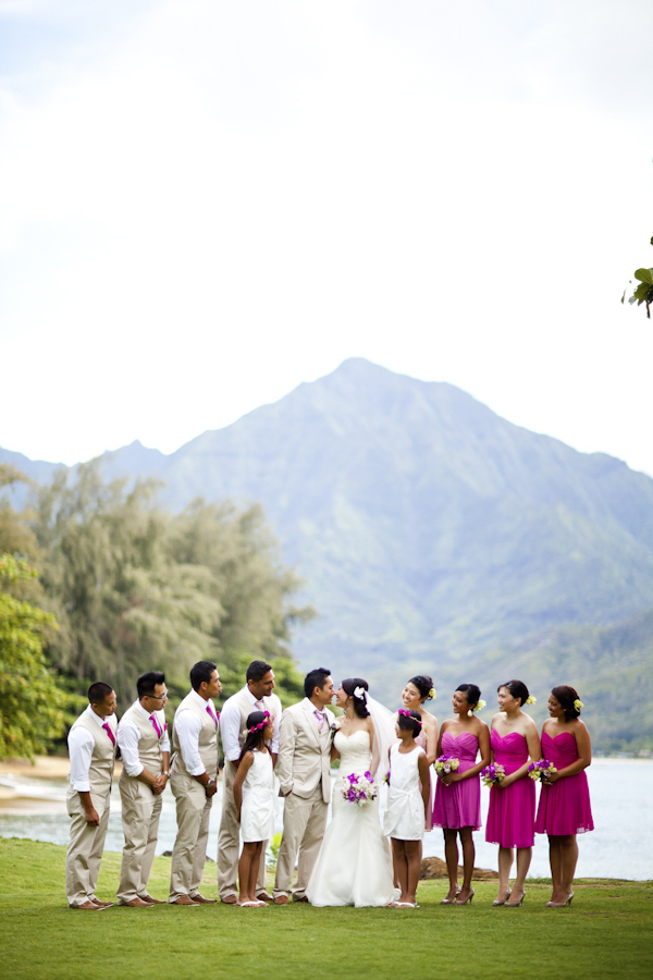 pink destination wedding in Hawaii at St Regis Princeville Resort, photos by Dmitri and Sandra Photography | via junebugweddings.com