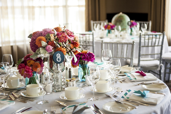 colorful vintage wedding at Terminal City Club, Vancouver, B.C. with photos by Stone Photo | via junebugweddings.com