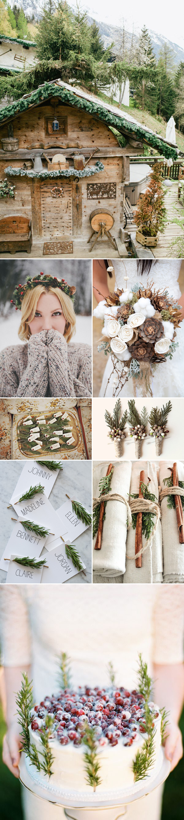rustic mountain winter wedding color palette inspiration board | via junebugweddings.com