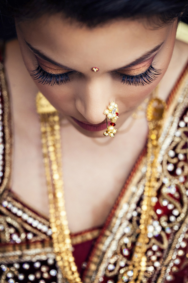 wedding portrait of bride by Uma Sanghvi of Studio Uma | via junebugweddings.com