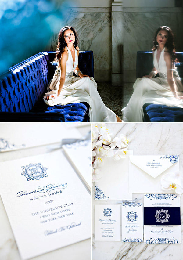 Modern blue and white wedding style inspiration from Junebug's new Fashion Report - photos by Chelsea Patricia and Junebug Weddings