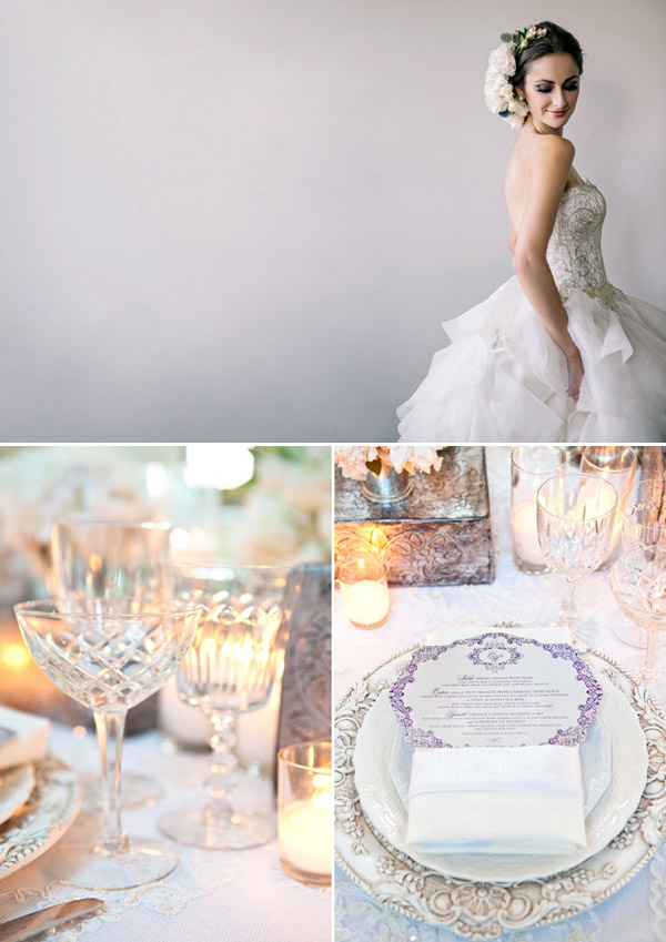 Classic white and metallic wedding style inspiration from Junebug's new Fashion Report - photos by Dear Wesleyann Photography and Junebug Weddings
