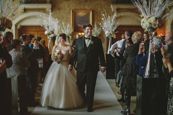 white and gold winter wedding at Fairmont Banff Springs, photo by Gabe McClintock | via junebugweddings.com