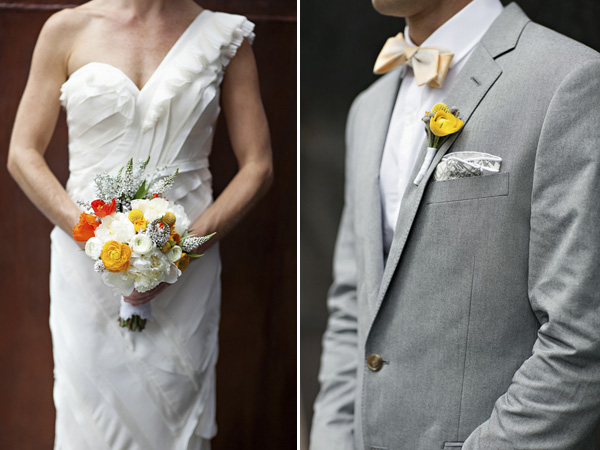 bright yellow and orange summer wedding in Atlanta, photo by Paperlily Photography | via junebugweddings.com