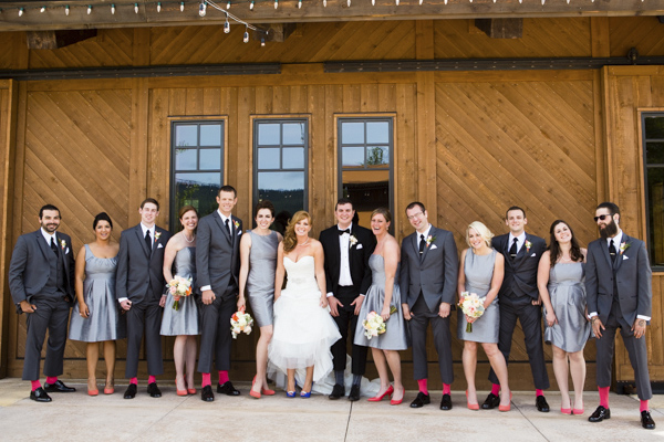 peach, coral, grey wedding at Swiftwater Cellars, photo by La Vie Photography | via junebugweddings.com