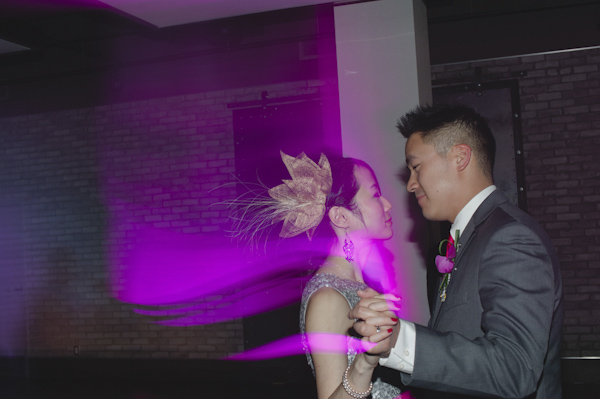 pink and purple wedding in Toronto at Arcadian Loft, photo by Aron Goss Photography | via junebugweddings.com