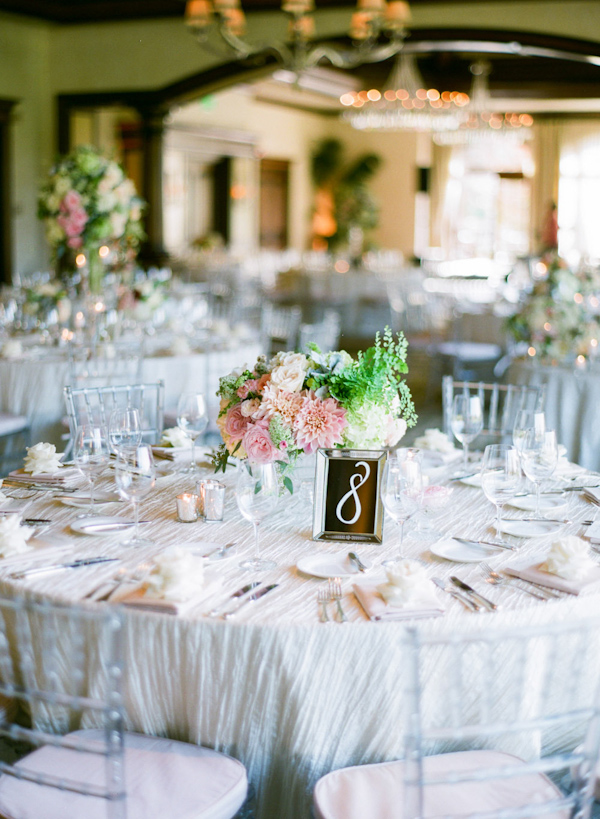 pink and cream wedding at the Big Canyon Country Club, photo by Troy Grover Photographers | via junebugweddings.com (14)