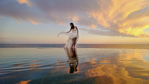 sunset wedding photo by Joy Marie Photography | via junebugweddings.com