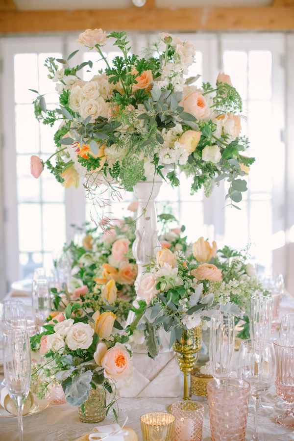lovely peach and cream wedding inspiration photo shoot from Peony & Plum, photo by Krista Mason | via junebugweddings.com