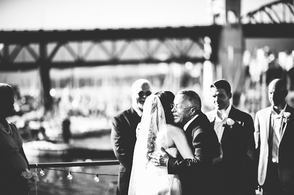 romantic wedding at Bridges Restaurant in Vancouver, BC, photo by Dallas Kolotylo Photography | via junebugweddings.com