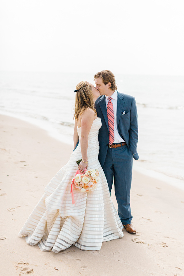 Coral and Navy Nautical Wedding | Junebug Weddings