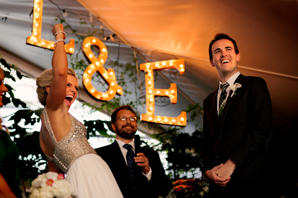 glittery gold bridal style, photo by Stark Photography | via junebugweddings.com