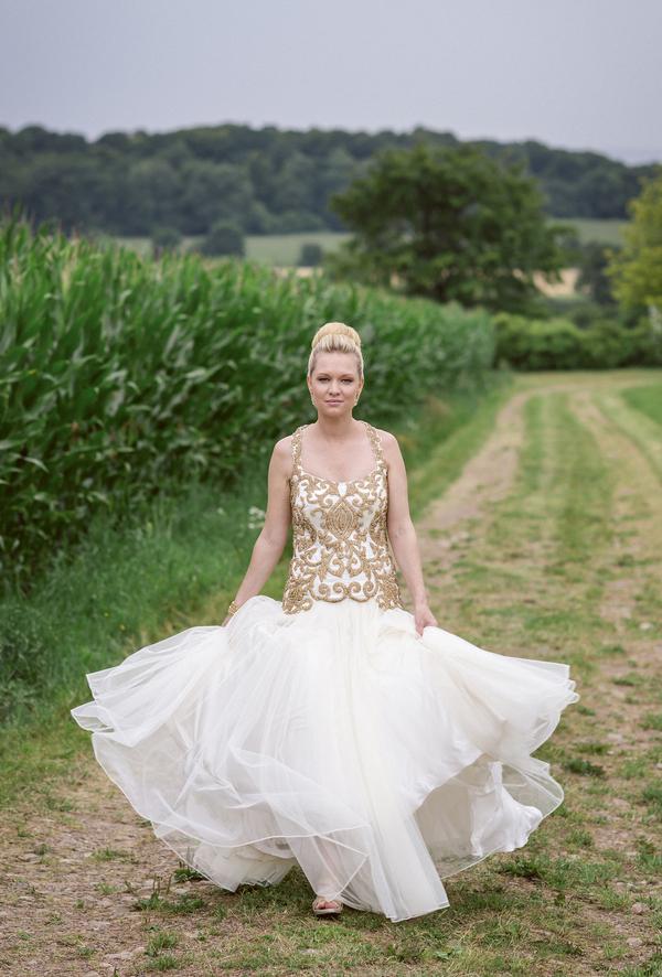sophisticated multicultural fusion bridal style, photo by Anna Lauridsen Kullafoto | via junebugweddings.com