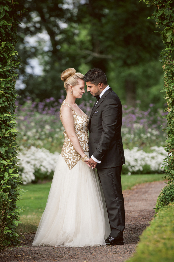sophisticated multicultural fusion bridal style, photo by Anna Lauridsen Kullafoto | via junebugweddings.com