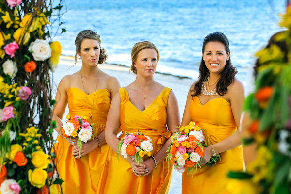 yellow bridesmaid dresses, photo by Zasil Studio | via junebugweddings.com