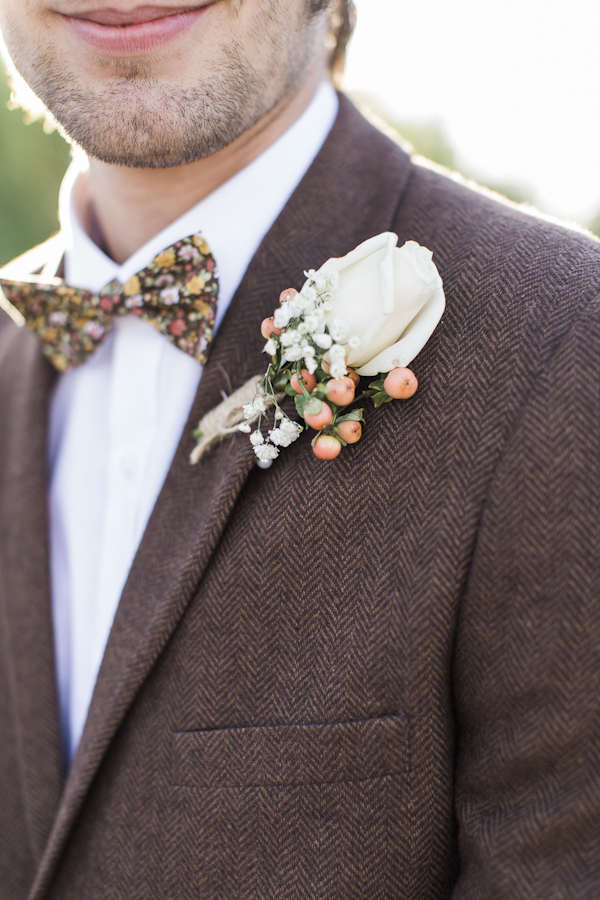 rustic boutonniere, photo by Rachel Solomon | via junebugweddings.com