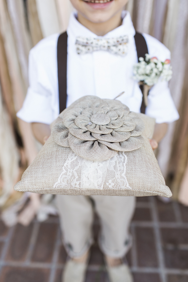 burlap ring bearer pillow, photo by Rachel Solomon | via junebugweddings.com