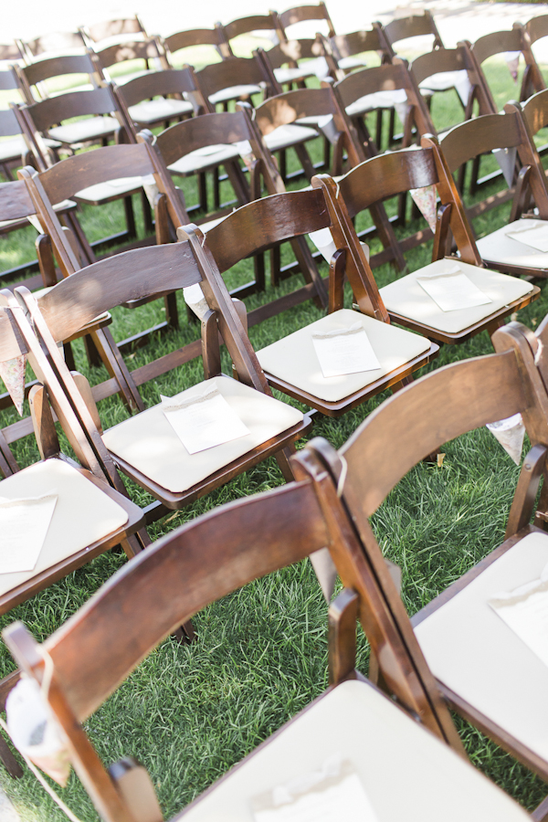 rustic ceremony seating, photo by Rachel Solomon | via junebugweddings.com