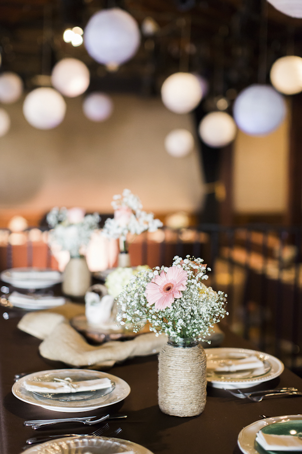 rustic wedding reception decor, photo by Rachel Solomon | via junebugweddings.com