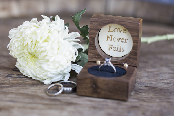 rustic wedding ring box, photo by Rachel Solomon | via junebugweddings.com