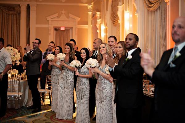 glamorous bridal party style, photo by Kristen Weaver Photography | via junebugweddings.com