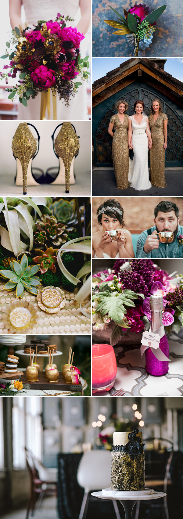 magenta and gold wedding color palette inspiration board | via junebugweddings.com