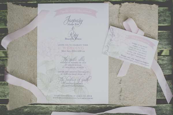 blush and mint wedding invitations, photo by Still55 Photography | via junebugweddings.com