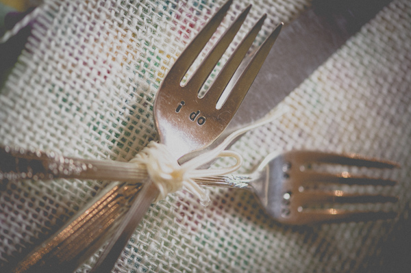 I do bride and groom forks, photo by Still55 Photography | via junebugweddings.com