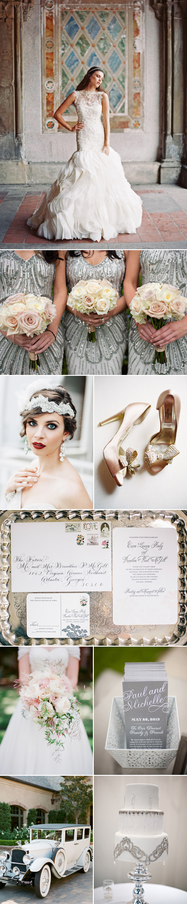 silver and blush wedding color palette inspiration board | via junebugweddings.com