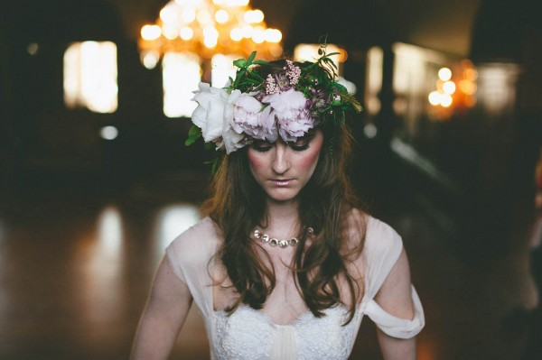 victorian flower crown wedding inspiration