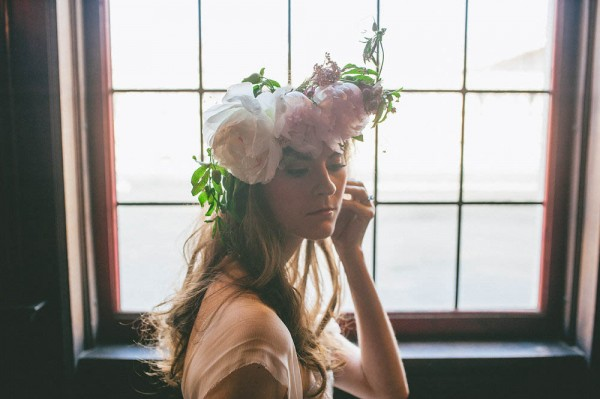 flower crown with light pink peonies