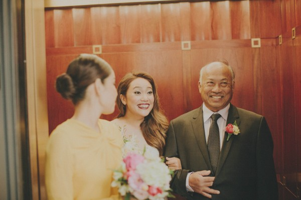 adorable excited bride and her father