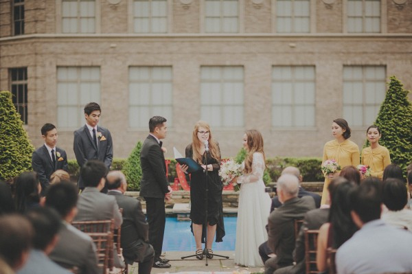 timeless rooftop wedding in NYC ceremony