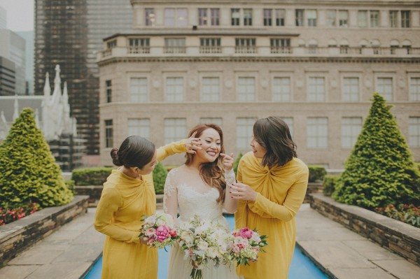 adorable bride and bridesmaids' moment