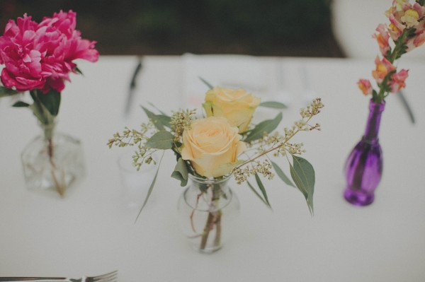 yellow and pink reception flowers