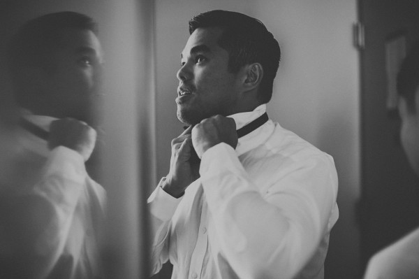 groom getting ready portrait
