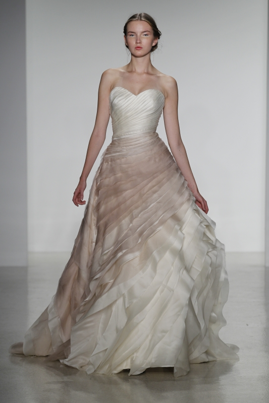 ombre nude pink Kelly Faetanini wedding dress