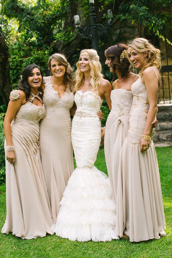 Long Gold Mismatched Bridesmaids Dresses