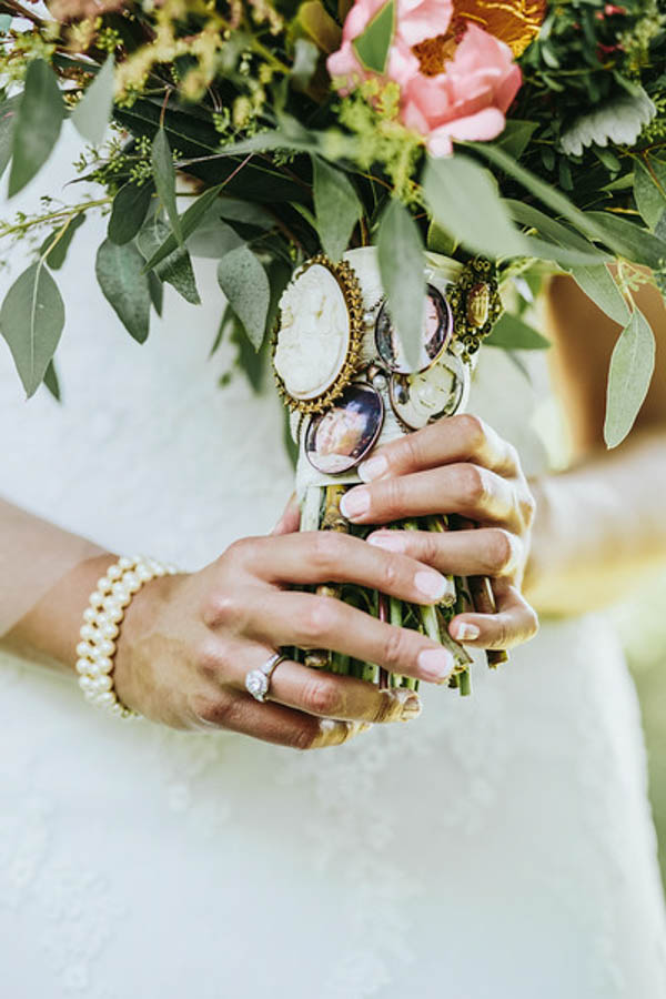 vintage Southern garden wedding heirloom bouquet, photo by Streetlight Republic | via junebugweddings.com