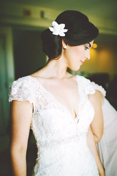 bridal fashion inspiration lace dress by Allure Couture, photo by Tina Bass Photography | via junebugweddings.com
