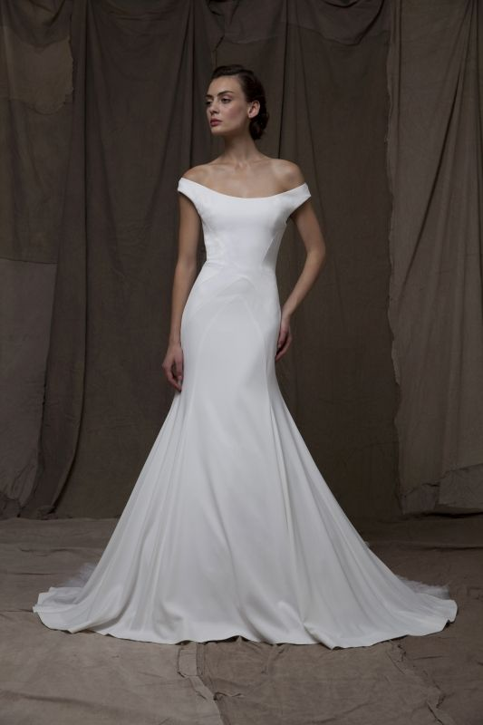 Lela Rose minimalistic off-the-shoulder wedding dress