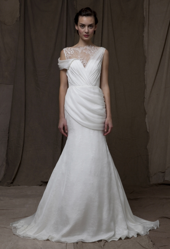 Lela Rose illusion neckline wedding dress