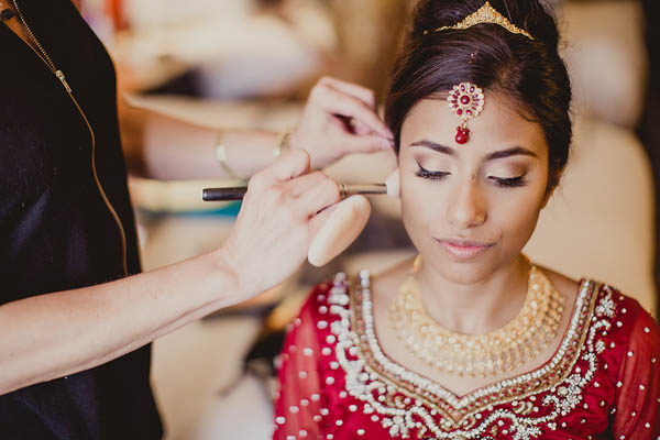 traditional Indian bride getting ready