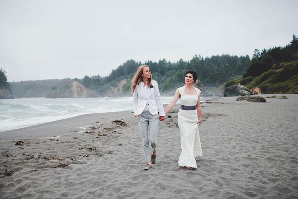same-sex couple beach wedding portrait