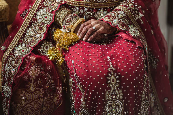 intricate traditional Indian wedding dress