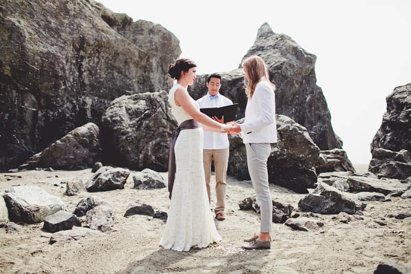 romantic California coast same-sex wedding ceremony vows