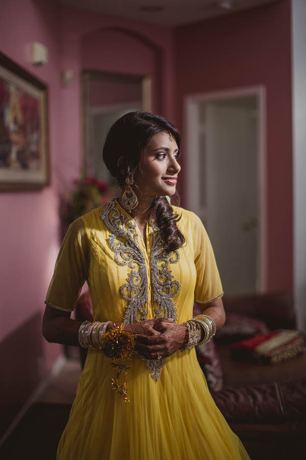 stunning yellow Indian ceremony bridal dress and accessories