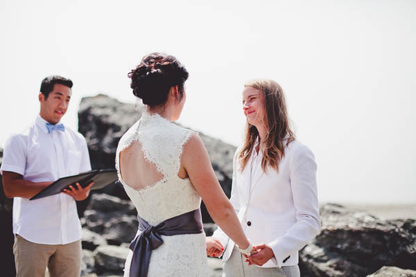 romantic same-sex wedding ceremony ring exchange